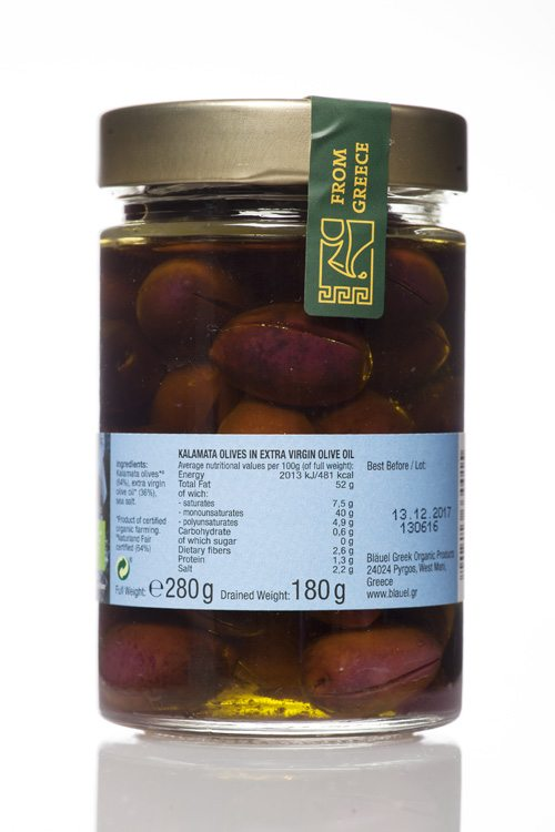 Mani Bläuel Kalamata Olives in Extra Virgin Olive Oil