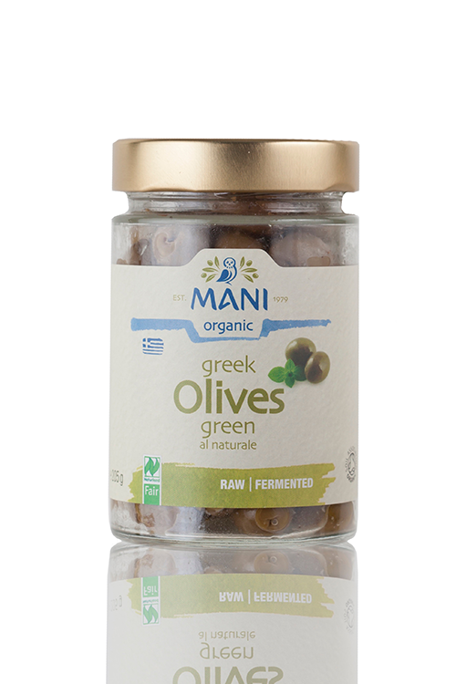 Mani Green Olives al Naturale, Naturland Fair & Organic Certified - 180g